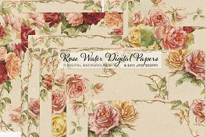 Vintage Rose 8.5x11 Digital Papers