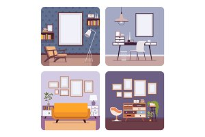 Set of retro interiors, frames for copyspace and mockup