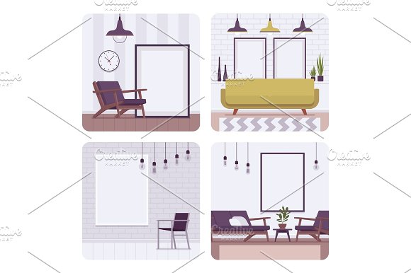Set Of Retro Interiors Frames For Copyspace And Mockup