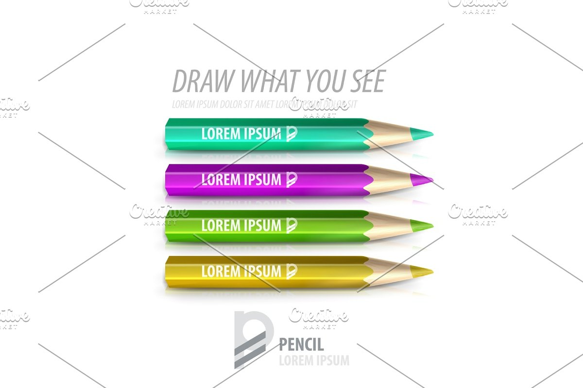 Vector pencil premium ad product template in Illustrations - product preview 8