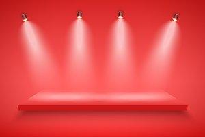 Set of Red Presentation platforms
