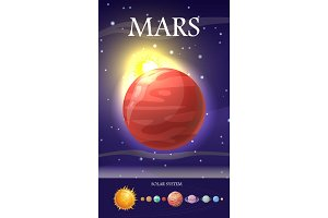 Mars Planet. Sun System. Universe. Vector