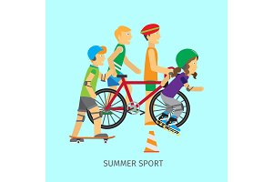 Summer sport. Active way of Life Conceptual Banner
