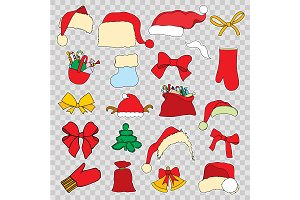 Set doodle Christmas objects
