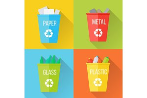 Color Recycle Garbage Bins with Glass