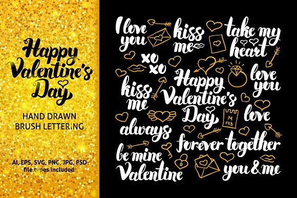 Happy Valentines Day Lettering Illustrations Creative Market