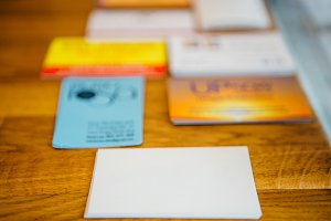 Blank visit cards on table