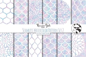 Seamless Watercolor Pattern Set #2cc