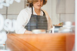 Baker working at her bakery