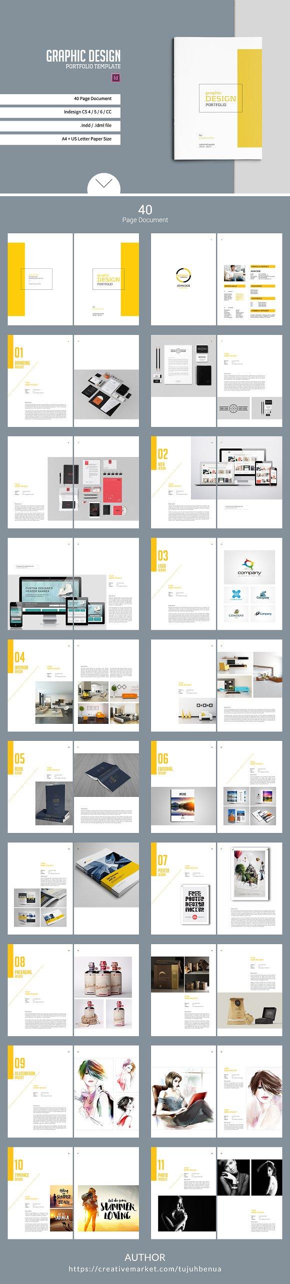Graphic design portfolio template brochure templates for Interior design portfolio pdf