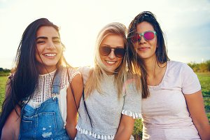 Three female friends spending time together