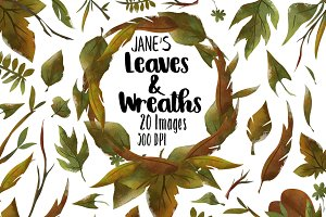Watercolor Leaves and Wreath clipart