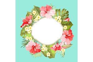 Tropical flower wreath.