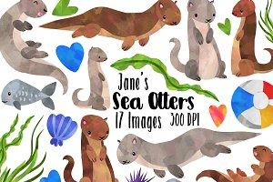 Watercolor Otter clipart