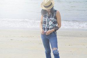 hipster girl on the beach