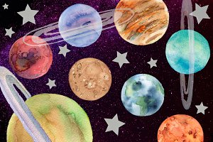 Solar system planets.Watercolor set
