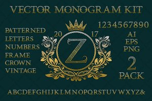 Vintage monogram kit pack 2