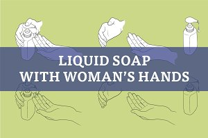 Woman hands with liquid soap