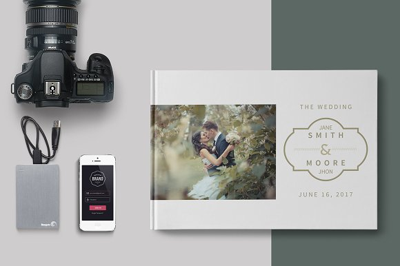 Wedding Album Template Brochure Templates Creative Market – Template for Photo Album