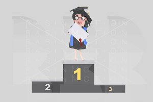 Graduate girl on podium