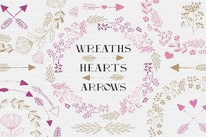 Wreaths, hearts, arrows - EPS & PNG