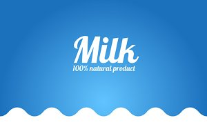 Milk Bottle Icon and Milk Background