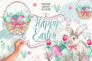 Watercolor Happy easter design