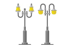 Street Lamp Light Posts Set