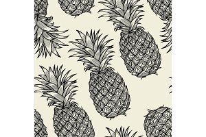 pineapples hand drawn sketch.