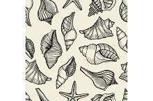 Seamless pattern with shells