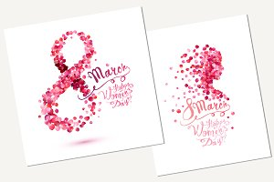 8 march cards. Happy woman's day!