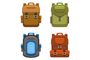 Backpack Bag Flat Style Set