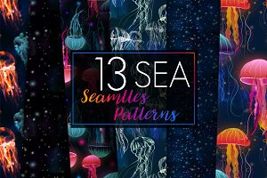 13 seamless patterns!Jellyfish Mania