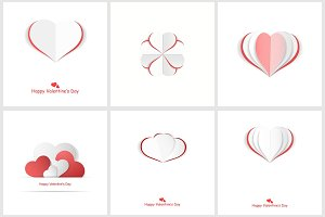 Valentine day postcards with hearts