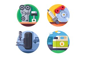 Spare parts set icons