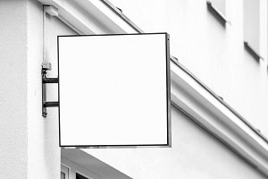 blank hanging company wall sign business images creative market