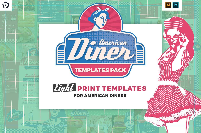 American Diner Menu Templates Pack Brochure Creative Market