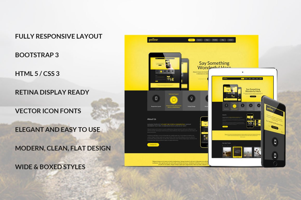 yellow bootstrap responsive template bootstrap themes creative