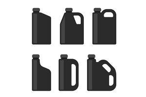 Blank Black Plastic Canisters Icons