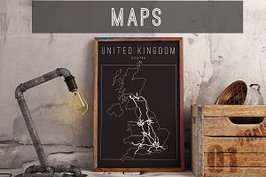 maps vector posters