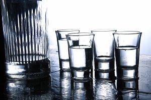 Vodka in glasess.