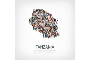 people map country Tanzania vector