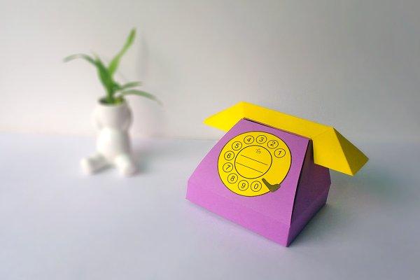 Diy Telephone Favor 3d Papercrafts Creative Templates Creative Market