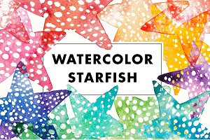 14 Watercolor Starfish illustrations