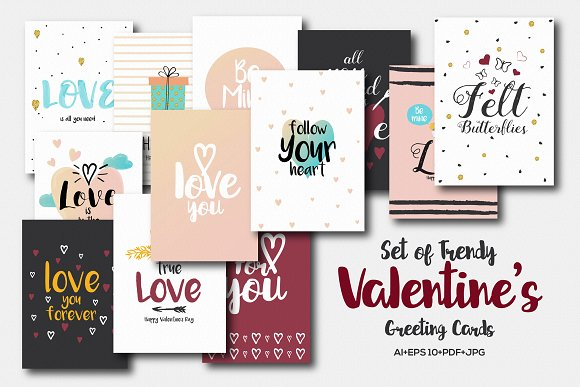 Set Of 20 Valentines Greeting Cards