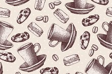 2 Vector seamless coffee pattern