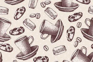 2 Vector seamless coffee pattern