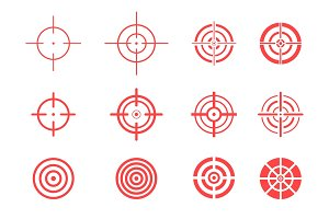 Collection of red target icons.