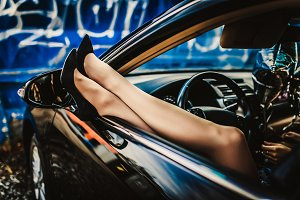 Sexy girl in car