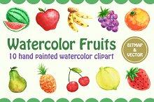 Watercolor Fruits  - Vector & PNG